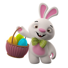 Happy Easter, amazing 3D easter bunny with eggs in basket