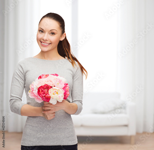 young woman with bouquet of flowers