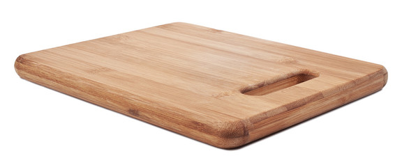 Brown cutting bamboo board used for cooking. Wood texture.