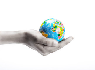 hand hold small globe