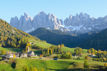 Village with Dolomites background