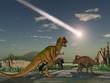 Dinosaurios mirando la caída de un asteroide - 62035670