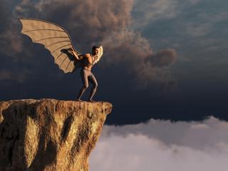 Hombre intentando volar