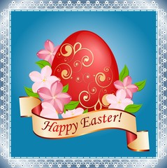 Easter card with eggs, flowers and patterns