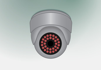 Ceiling mounted surveilance camera, fully editable vector