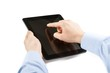 businessman is holding and is touching digital tablet pc