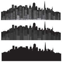 Vector cities silhouettes.