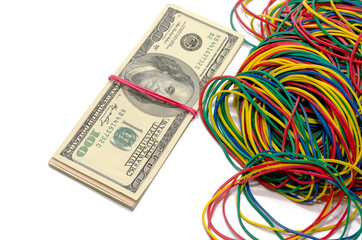 dollars and elastic bands