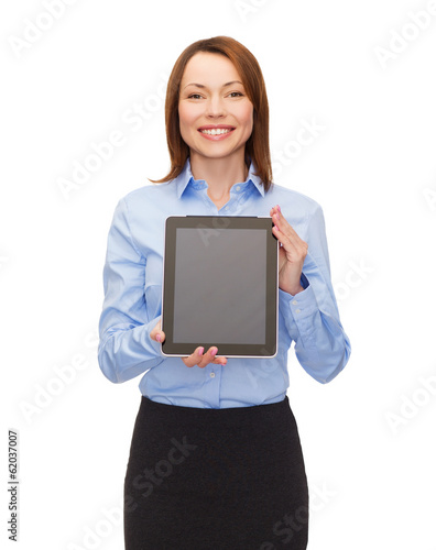 smiling woman with blank tablet pc computer screen