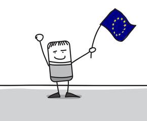 Personnage agitant le drapeau de l'Europe