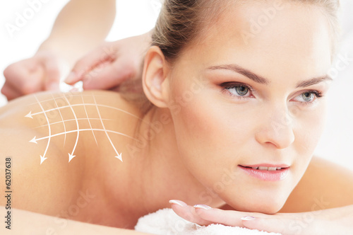 A beautiful and healthy woman getting alternative massage