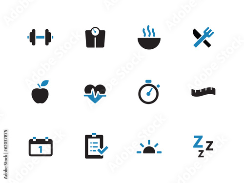 Fitness duotone icons on white background.