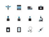 Hospital duotone icons on white background.