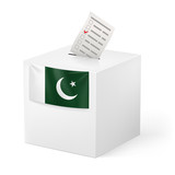 Ballot box with voting paper. Pakistan