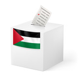 Ballot box with voting paper. Palestine