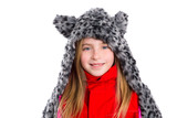 blond kid girl with winter gray feline fur scarf hat in white poster