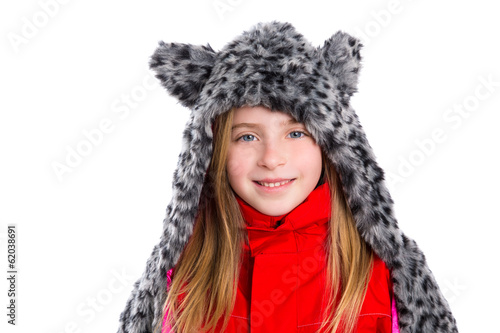 blond kid girl with winter gray feline fur scarf hat in white
