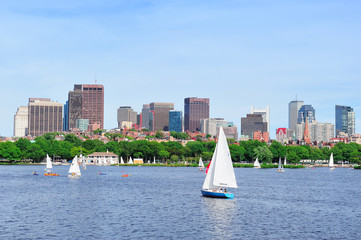 Charles river with Boston skyline