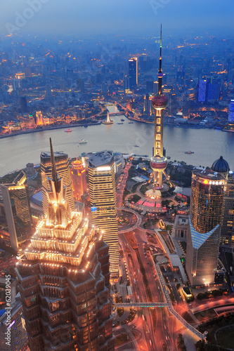 canvas print picture Shanghai sunset
