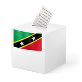 Ballot box with voting paper. Saint Kitts and Nevis