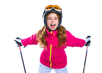 kid girl with ski poles helmet and goggles smiling on white