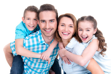 Portrait of the happy european family with children