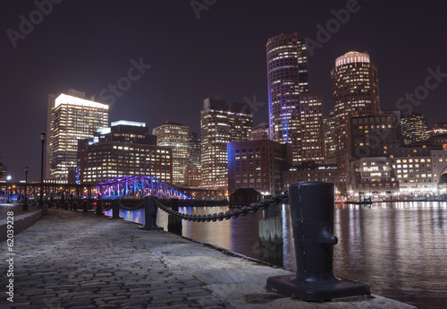 Boston Harbor and Financial District at night in Boston, Massac