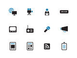 Media duotone icons on white background.