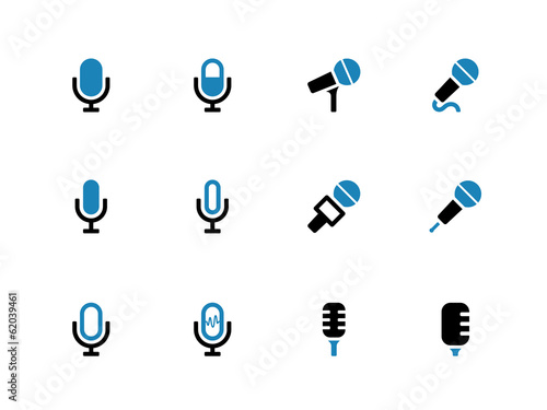 Microphone duotone icons on white background.