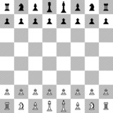 Pixel chess collection on the chessboard