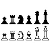 Pixel chess set isolated on white