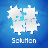 solution and puzzle pieces over blue background, flat design