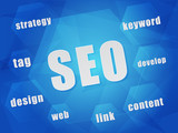 SEO and business concept words in hexagons