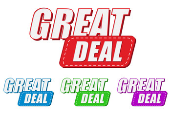 great deal, four colors labels