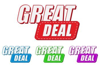 great deal, four colors labels