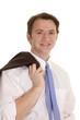 Man suit coat over shoulder smile
