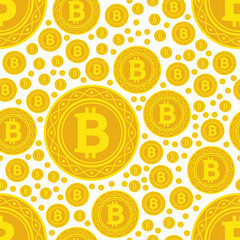 bitcoin coins seamless pattern