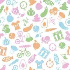 health lifestyle seamless pattern