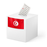 Ballot box with voting paper. Tunisia