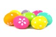 Cluster of colorfully decorated Easter eggs