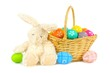 Easter basket with colorful eggs and bunny
