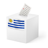 Ballot box with voting paper. Uruguay