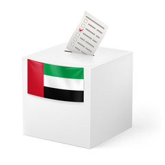 Ballot box with voting paper. United Arab Emirates