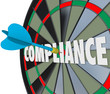 Compliance Word Dart Board Direct Hit Follow Rules Laws Guidelin