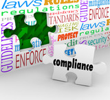 Compliance Puzzle Piece Wall Hole Guidelines Regulations Laws Ru