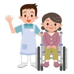 介護士と車椅子のシニア女性
