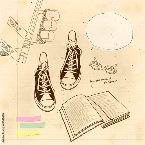 still life of book and shoes © seesawname