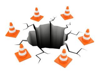 Road cones around crack