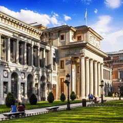 Exterior view of the Prado Museum in Madrid, Spain.