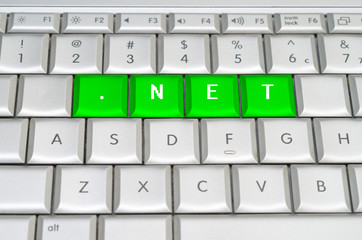 Internet top level domain .net spelled on metallic keyboard